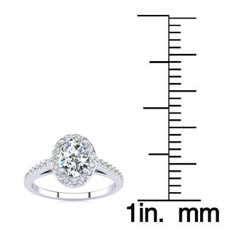 1 Carat Oval Shape Halo Diamond Engagement Ring in 14 Karat White Gold