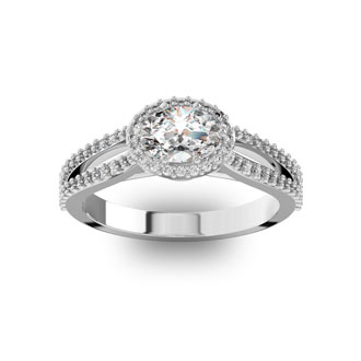 1 Carat Oval Halo Diamond Engagement Ring in 14 Karat White Gold, Split Shank
