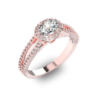 1 Carat Oval Halo Diamond Engagement Ring in 14 Karat Rose Gold, Split Shank