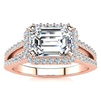 1 1/2 Carat Halo Diamond Engagement Ring in 14 Karat Rose Gold, Split Shank