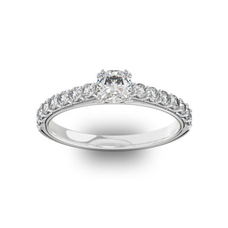 1 Carat Cushion Cut Double Prong Set Engagement Ring In 14 Karat White Gold