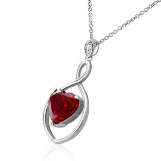 5 Carat Ruby Heart Infinity Necklace in Sterling Silver