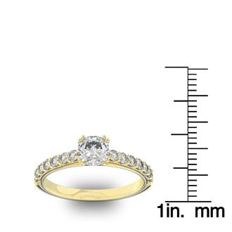 1 1/4 Carat Cushion Cut Double Prong Set Engagement Ring In 14 Karat Yellow Gold