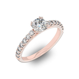 1 1/4 Carat Cushion Cut Double Prong Set Engagement Ring In 14 Karat Rose Gold