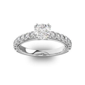 1 1/2 Carat Round Shape Double Prong Set Engagement Ring In 14 Karat White Gold