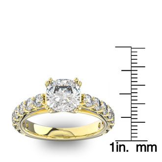 4 1/2 Carat Round Shape Double Prong Set Engagement Ring In 14 Karat Yellow Gold