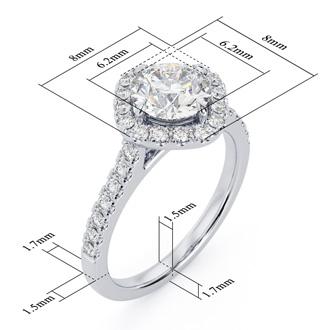 1 1/3 Carat Cushion Style Halo Diamond Engagement Ring in 14 Karat White Gold