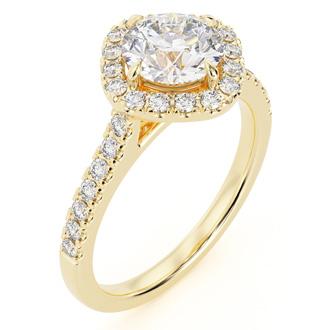 1 1/3 Carat Cushion Style Halo Diamond Engagement Ring in 14 Karat Yellow Gold (I-J, I1-I2)