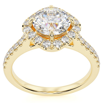 1 1/3 Carat Cushion Style Halo Diamond Engagement Ring in 14 Karat Yellow Gold (I-J, I1-I2)