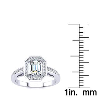 1 Carat Emerald Cut Halo Diamond Engagement Ring In 14 Karat White Gold