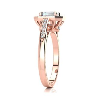 1 Carat Emerald Cut Halo Diamond Engagement Ring In 14 Karat Rose Gold