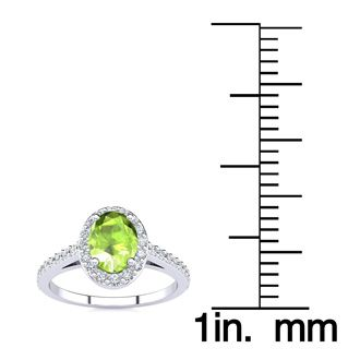 1 Carat Oval Shape Peridot and Halo Diamond Ring In 14 Karat White Gold