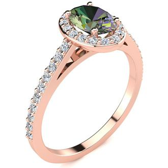 1 Carat Oval Shape Mystic Topaz and Halo Diamond Ring In 14 Karat Rose Gold
