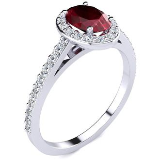 1 1/4 Carat Oval Shape Ruby and Halo Diamond Ring In 14 Karat White Gold