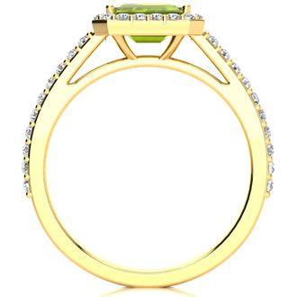1 1/2 Carat Emerald Shape Peridot and Halo Diamond Ring In 14 Karat Yellow Gold
