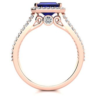 1 1/2 Carat Emerald Shape Antique Sapphire and Halo Diamond Ring In 14 Karat Rose Gold