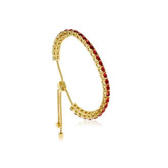 Ruby Crystal Adjustable Bolo Bracelet In Gold Overlay