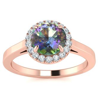 3/4 Carat Round Shape Mystic Topaz and Halo Diamond Ring In 14 Karat Rose Gold