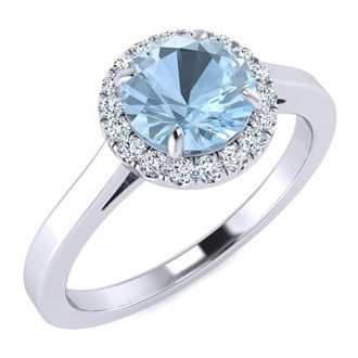 1 Carat Round Shape Aquamarine and Halo Diamond Ring In 14 Karat White Gold