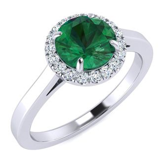 1 Carat Round Shape Emerald and Halo Diamond Ring In 14 Karat White Gold