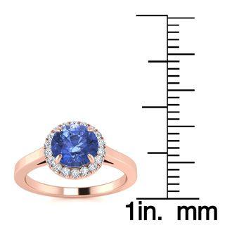 1 Carat Round Shape Tanzanite and Halo Diamond Ring In 14 Karat Rose Gold