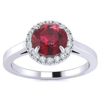 1 Carat Round Shape Ruby and Halo Diamond Ring In 14 Karat White Gold