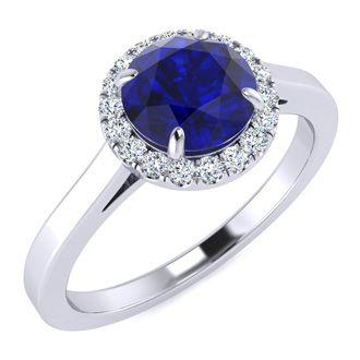 1 Carat Round Shape Sapphire and Halo Diamond Ring In 14 Karat White Gold