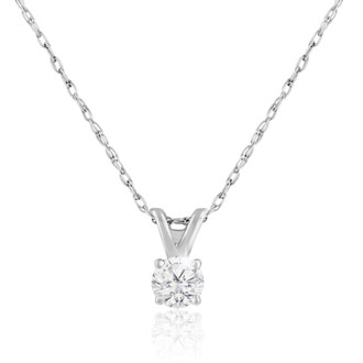Nearly 1/8 Carat Diamond Solitaire Necklace With Free 18 Inch Chain