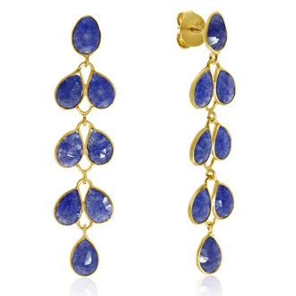 10 Carat Blue Sapphire Feather Earrings In 14K Yellow Gold