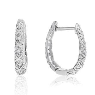 Delicately Embellished Diamond Hoop Earrings, Silver Overlay, 3/4 Inch