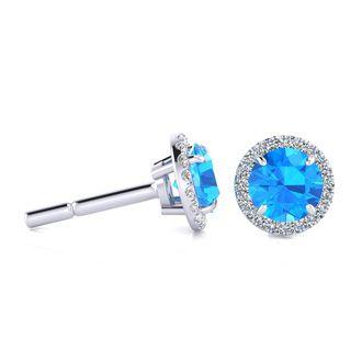 1 1/4 Carat Round Shape Blue Topaz and Halo Diamond Earrings In 14 Karat White Gold