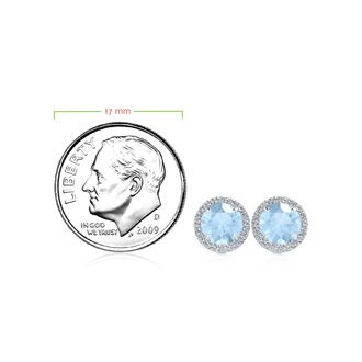 1 Carat Round Shape Aquamarine and Halo Diamond Earrings In 14 Karat White Gold