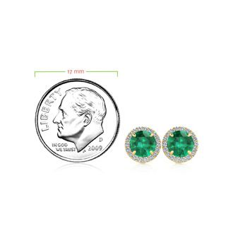 1 Carat Round Shape Emerald and Halo Diamond Earrings In 14 Karat Yellow Gold