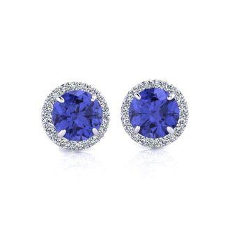 1 1/4 Carat Round Shape Tanzanite and Halo Diamond Earrings In 14 Karat White Gold