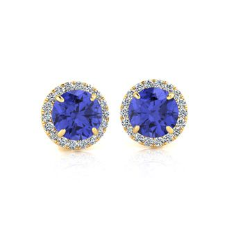 1 1/4 Carat Round Shape Tanzanite and Halo Diamond Earrings In 14 Karat Yellow Gold