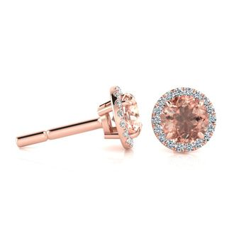 1 Carat Round Shape Morganite and Halo Diamond Earrings In 14 Karat Rose Gold