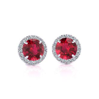 1 1/3 Carat Round Shape Ruby and Halo Diamond Earrings In 14 Karat White Gold