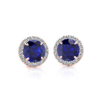 1 1/3 Carat Round Shape Sapphire and Halo Diamond Earrings In 14 Karat Rose Gold
