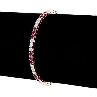Fine quality 5 Carat Ruby and Diamond Bracelet in 14k Rose Gold