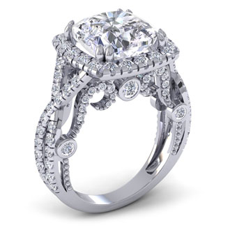 9 Carat Cushion Cut Halo Diamond Engagement Ring in 18 Karat White Gold, D Color, SI1 Clarity