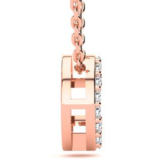 C Initial Necklace In 14K Rose Gold With 12 Diamonds