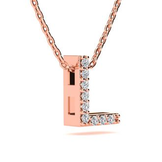 L Initial Necklace In 14K Rose Gold With 9 Diamonds