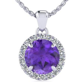 3/4 Carat Round Shape Amethyst and Halo Diamond Necklace In 14 Karat White Gold