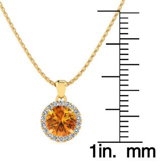 3/4 Carat Round Shape Citrine and Halo Diamond Necklace In 14 Karat Yellow Gold