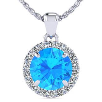 1 Carat Round Shape Blue Topaz and Halo Diamond Necklace In 14 Karat White Gold