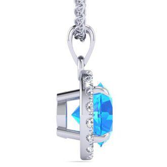 1 Carat Round Shape Blue Topaz and Halo Diamond Necklace In 14 Karat White Gold