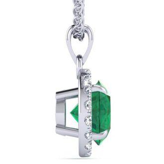 1 Carat Round Shape Emerald and Halo Diamond Necklace In 14 Karat White Gold
