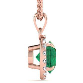 1 Carat Round Shape Emerald and Halo Diamond Necklace In 14 Karat Rose Gold