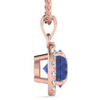 1 Carat Round Shape Tanzanite and Halo Diamond Necklace In 14 Karat Rose Gold