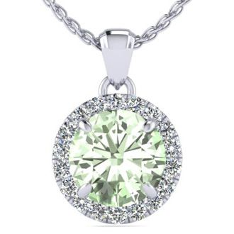 3/4 Carat Round Shape Green Amethyst and Halo Diamond Necklace In 14 Karat White Gold